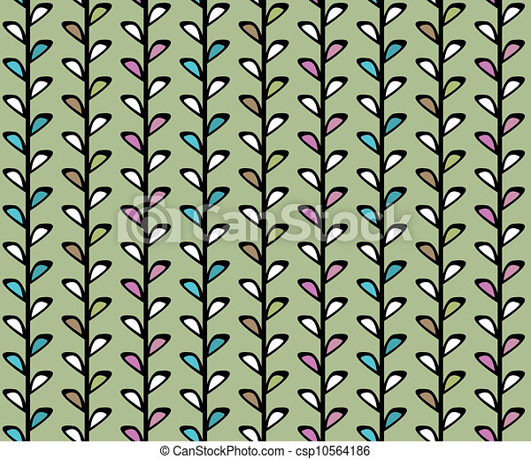 Vintage floral vector seamless texture with lianas - csp10564186