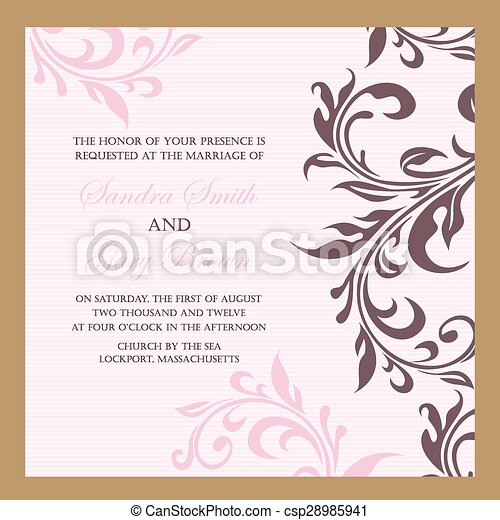 Vintage floral wedding invitation. Beautiful vintage floral wedding ...
