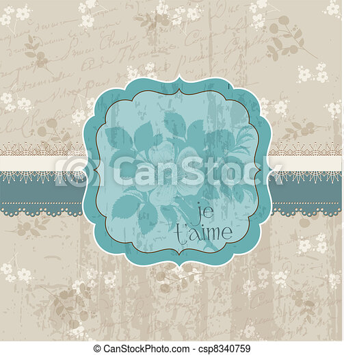 Vintage Flower Card - for invitation, congratulation, wedding in vector - csp8340759