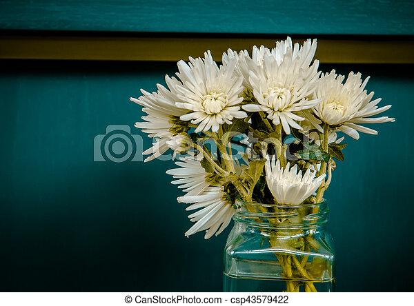 vintage flower pot decoration on wall - csp43579422