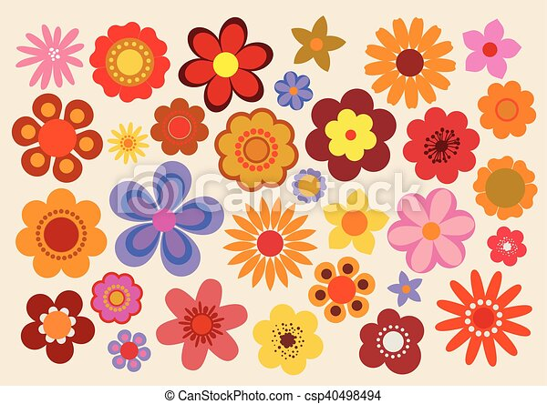 vintage flowers 60s 70s vector illustration of the flowers design