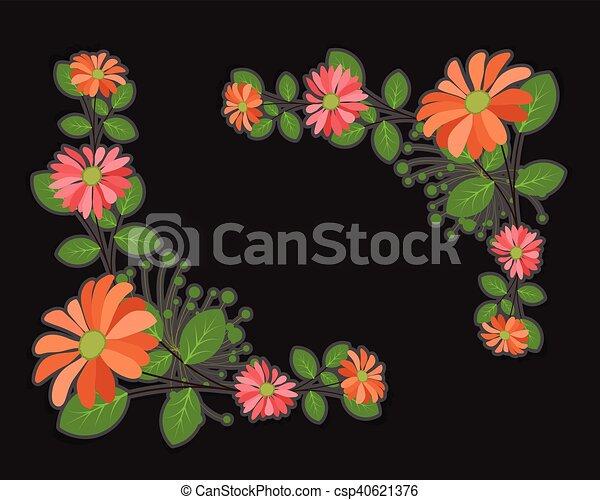 Vintage Flowers Corner Frames