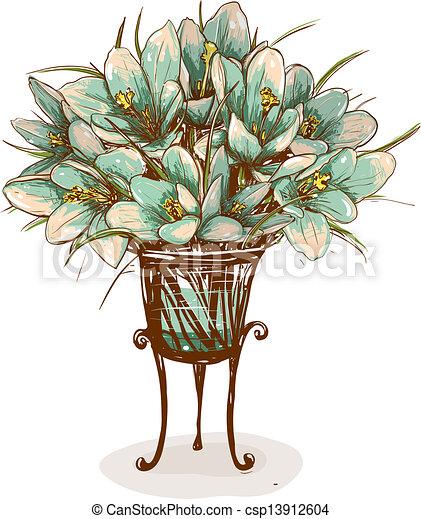 Vintage Flowers In Vase Composition Decorative Flowers Background