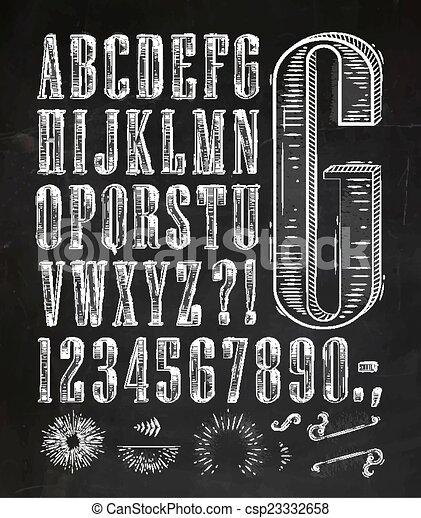 vintage font letters chalk csp23332658