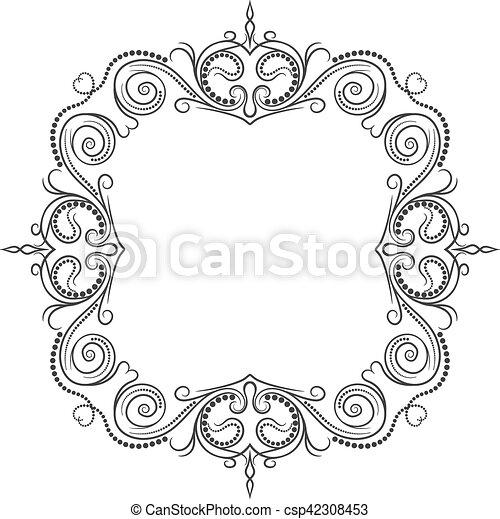 Vintage frame. Elegant luxury vintage calligraphy frame. - csp42308453