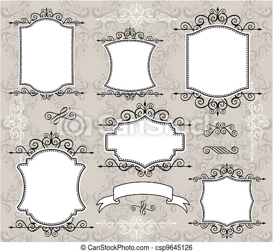 Vintage frame elements. Set of retro labels or frames and design ...