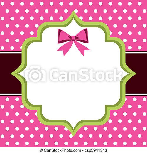 Vintage frame. Vintage frame, polka dot background with blank ...