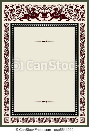 Vintage frame for certificate - csp6544090