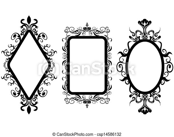 Isolated 3 different shpes of vintage frame mirror on white background.