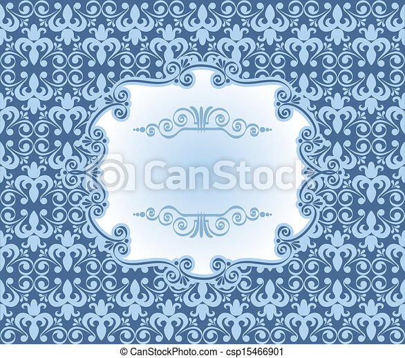 Vintage frame on damask background - csp15466901