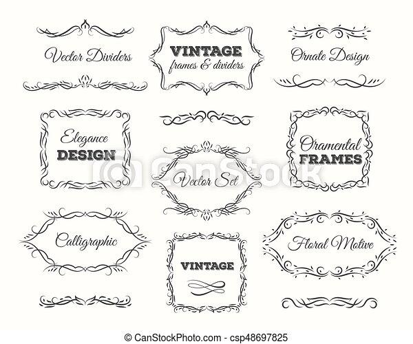 Vintage frame set. ornate frames and scroll elements. calligraphic ...