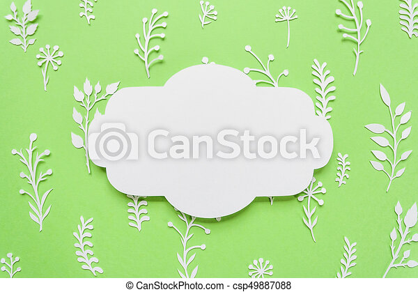 Vintage frame, summer meadow cut of white paper on green background ...