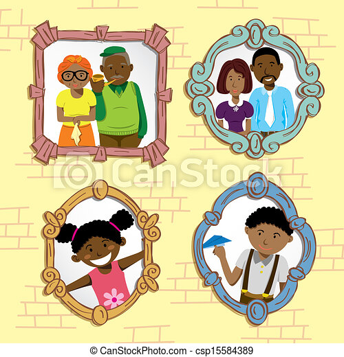 Vintage Frame With African Family