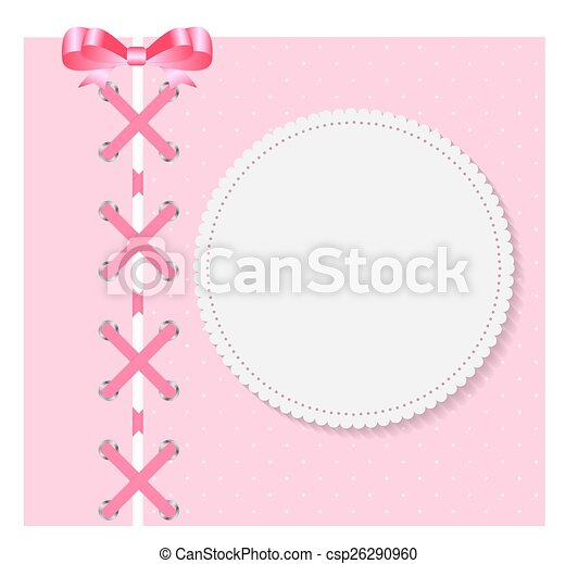 Vintage Frame with Bow  Background. Vector Illustration. - csp26290960