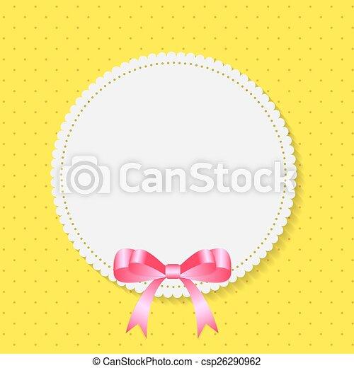 Vintage Frame with Bow  Background. Vector Illustration. - csp26290962
