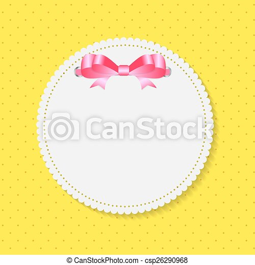 Vintage Frame with Bow  Background. Vector Illustration. - csp26290968