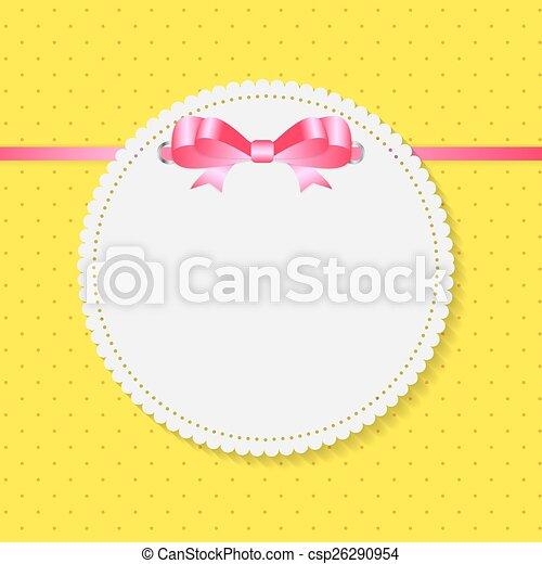 Vintage Frame with Bow  Background. Vector Illustration. - csp26290954