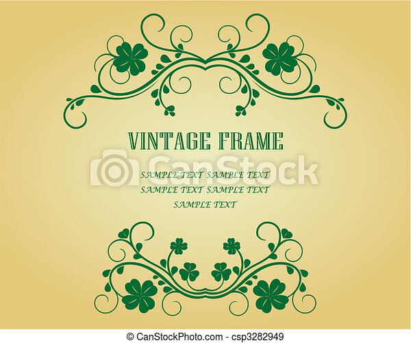 Vintage frame with clover - csp3282949