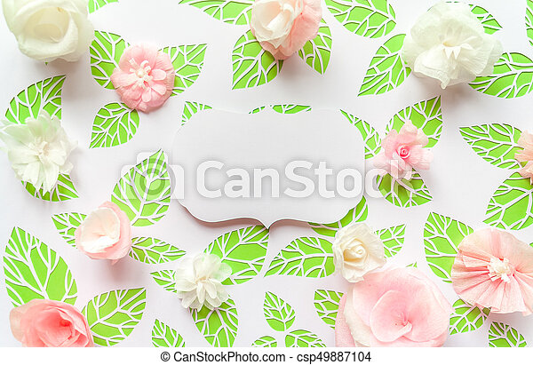 Vintage frame with color paper flowers on the background of green vintage frame with color paper flowers on the background of green leaves csp49887104 mightylinksfo
