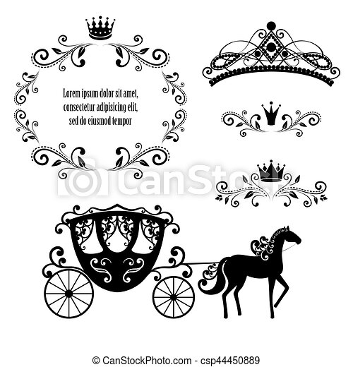 Design Elements Vintage Royalty Frame With Crown Ornamental Style Diadem Carriage In Black Color Vector Illustration Isolated On White Background
