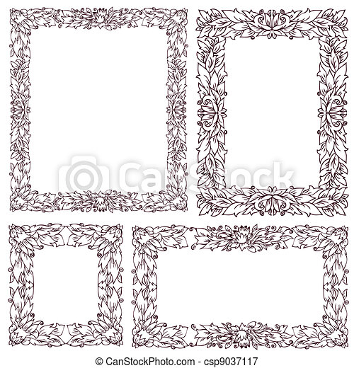 Set vintage frame with floral ornament vectors illustration - Search ...