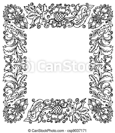 Vintage frame with floral ornament vector clip art - Search ...