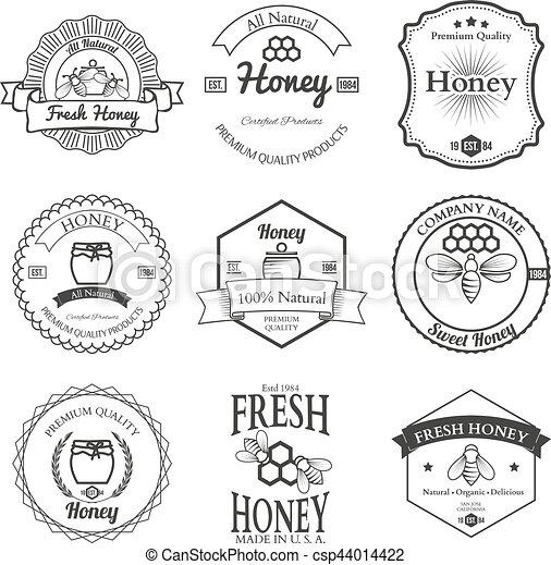 Vintage frame with Honey label set template - csp44014422