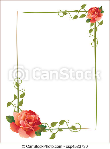 vintage frame with roses - csp4523730