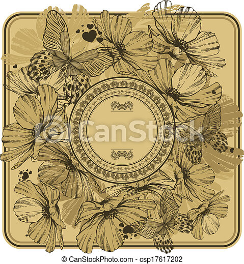 Vintage frame with wild flowers and butterflies. Vector illustration. - csp17617202
