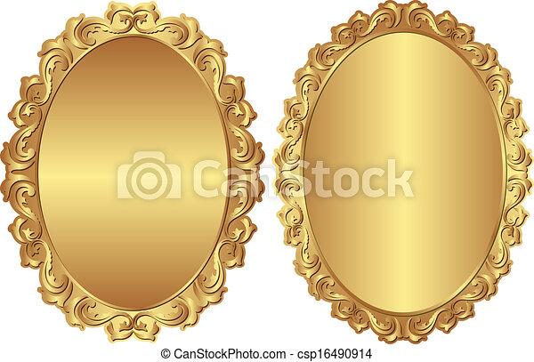 Vintage Frames Golden Vector Clip Art