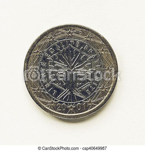 Vintage French 1 Euro coin - csp40649987