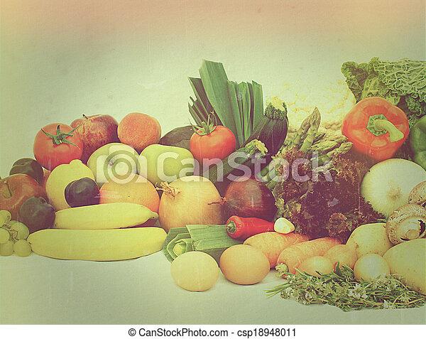 Vintage fruit and vegetables - csp18948011