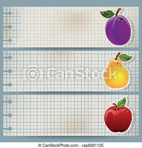 Vintage fruit banner - csp9261125