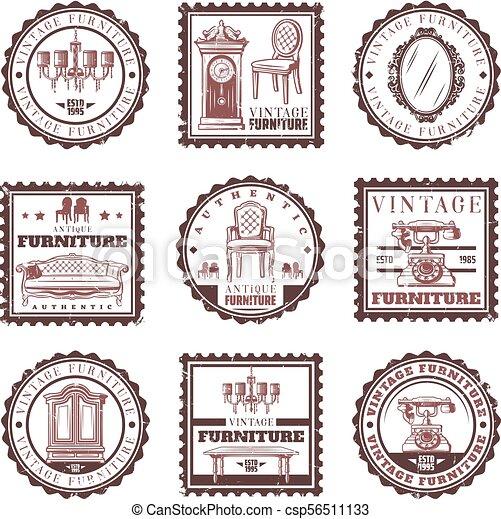 Vintage Furniture Stamps Set