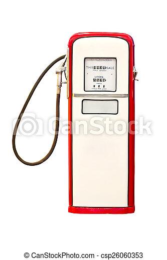 Vintage gasoline pump isolated on white background. - csp26060353