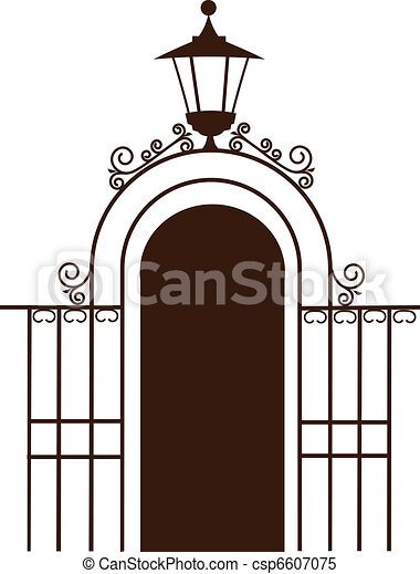 vintage gate to the park with lamp vector illustration clipart rh canstockphoto com gate clip art black and white gate clip art black and white