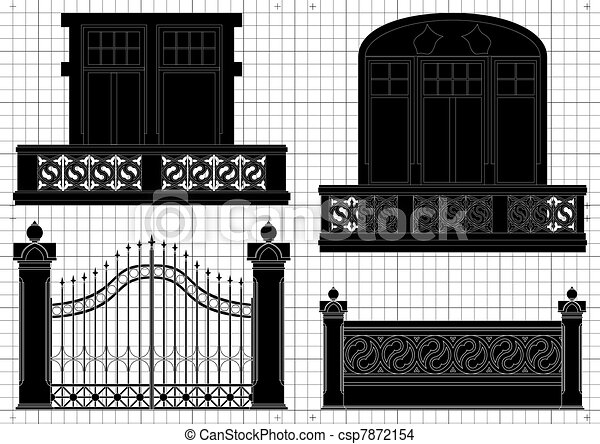 Vintage gates for house territory - csp7872154
