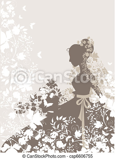 Vintage Girl Background With Flowers And Bride Silhouette