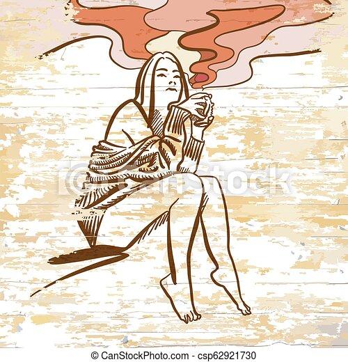 vintage girl drinking coffee drawing
