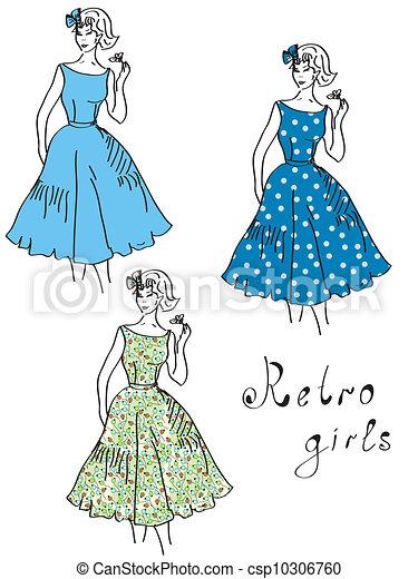 Vintage Girls In Floral Dresses Set Stock Illustration