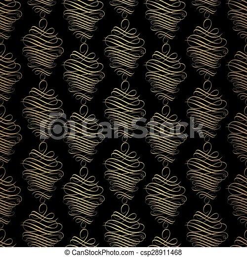 Vintage gold background, vector ornamental pattern - csp28911468