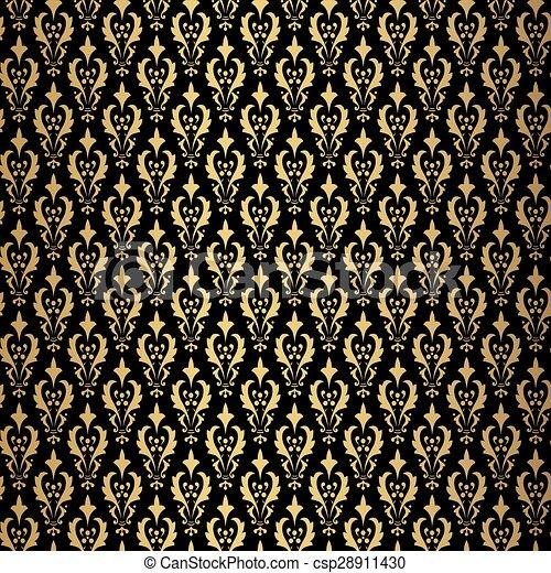 Vintage gold background, vector ornamental pattern - csp28911430
