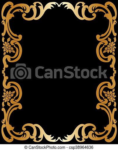 Vintage Gold Frame Gold Vintage Frame In Baroque Style On A Black