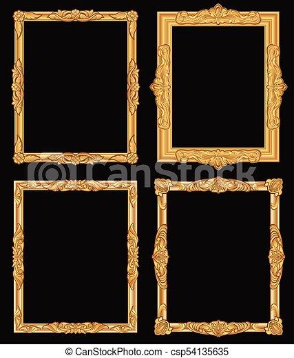 ecac2b42e597 Vintage Gold Ornate Square Frames Isolated. Retro Shiny Luxury Golden  Vector Borders