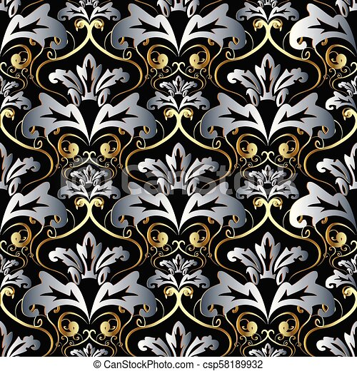 Vintage Gold Silver 3d Baroque Seamless Pattern
