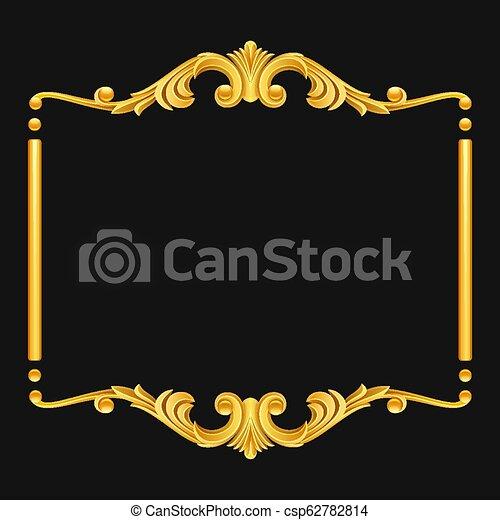 Vintage golden frame on dark background - csp62782814