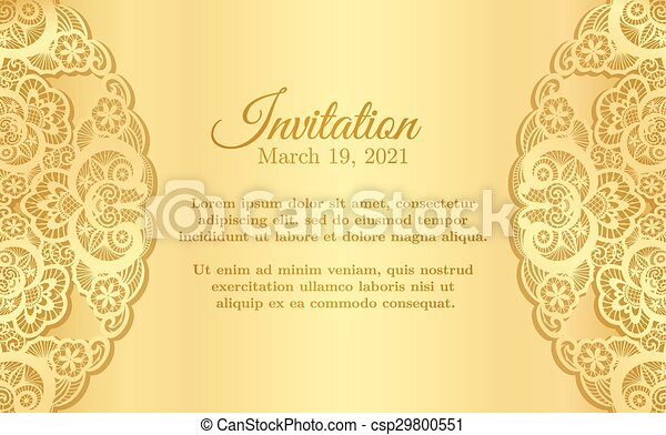 Vintage golden invitation cover with lace decoration - csp29800551