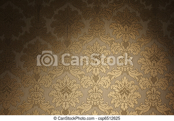 Vintage Golden Wallpaper Floral Pattern Stock