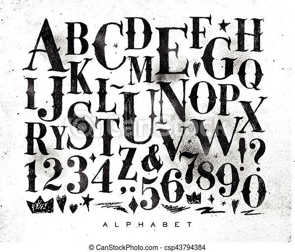 Vintage Gothic Alphabet Font In Retro Style Drawing