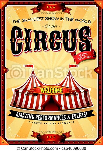 Vintage grand circus poster with marquee. Illustration of ...